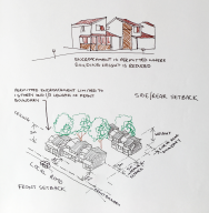 Sketch of buildings in relation to set backs
