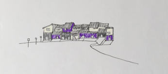 Sketch of buildings in relation to the street