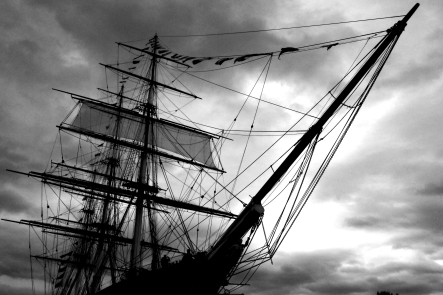 Black and white photograph of a sailing ship