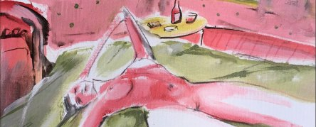 Painting by Adam Murray, lady reclining on a bed in the sun in pink and green