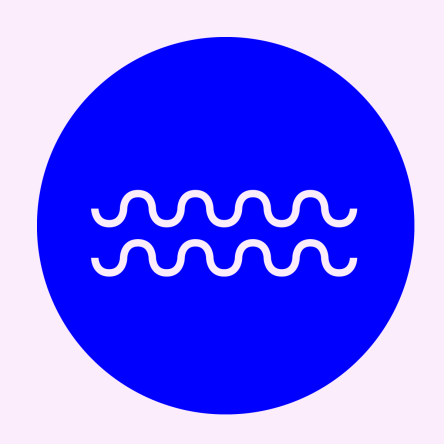 SØD visual wave logo in bright blue and pale pink