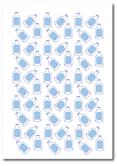 Got milk illustration of milk bottles in a minimal style in blue print