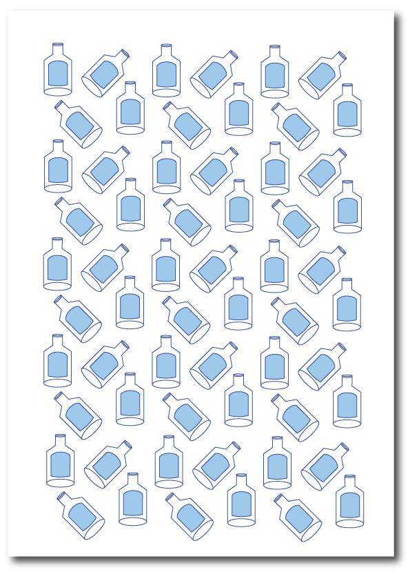 Got milk illustration of milk bottles in a minimal style in blue print