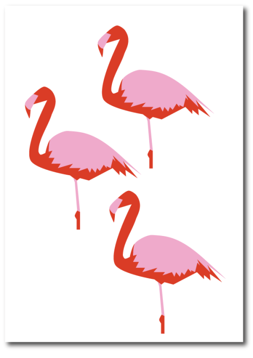 Three flamingos in pink and red print