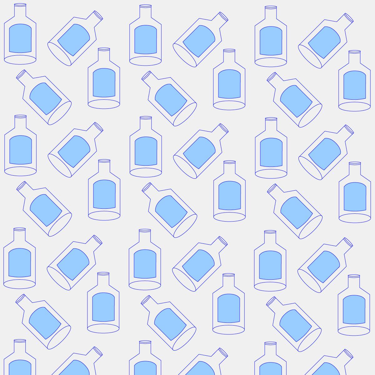 milk bottles in blue outline illustration