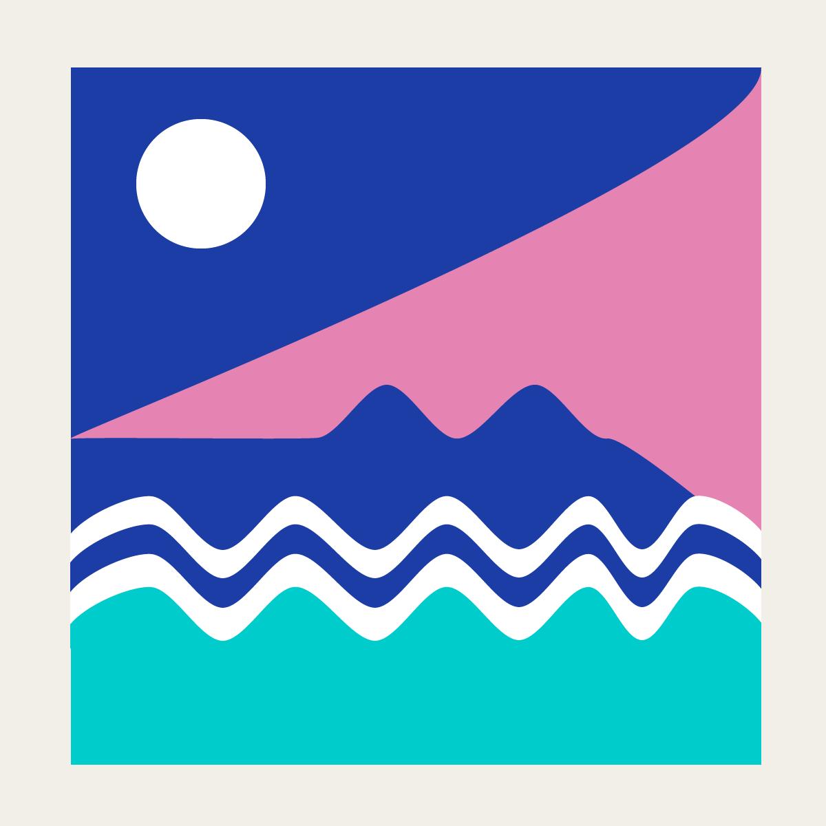 Moonlight surfing. Digital illustration by Naomi Anne Little