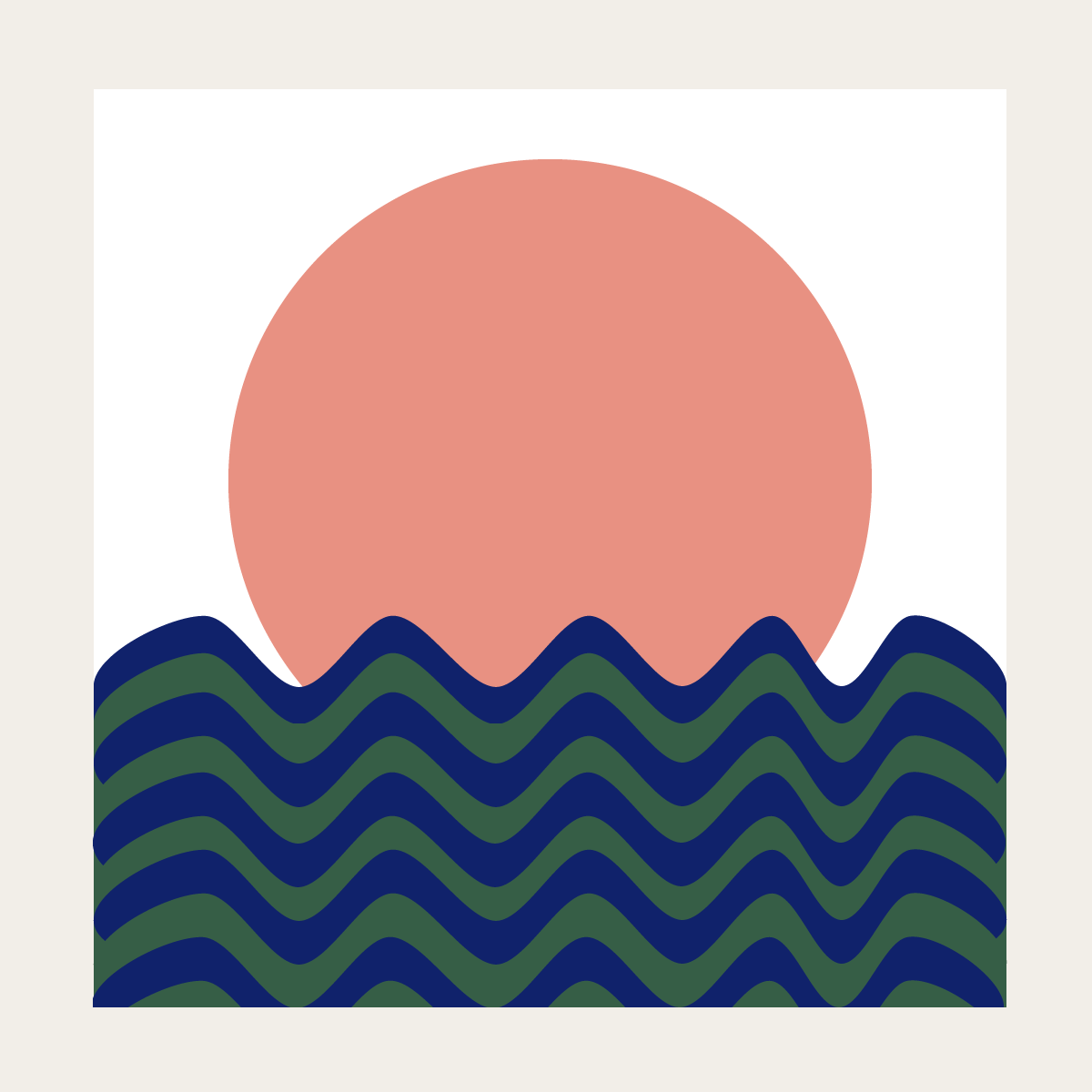Sea, sun and land illustration by Naomi Anne Little